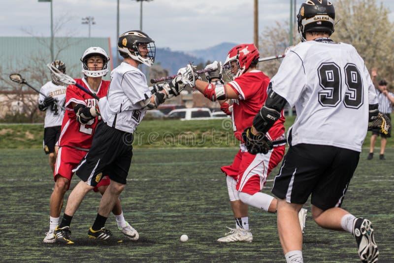 Lacrosse-Aktion stockbild