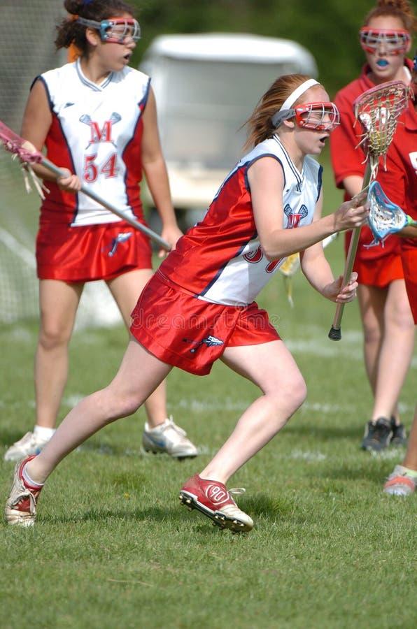 Lacrosse da High School das meninas foto de stock royalty free