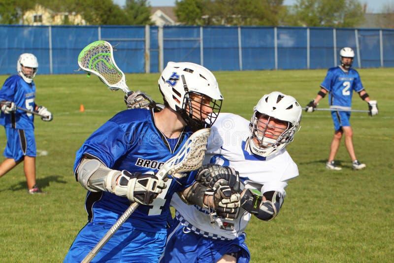 Lacrosse de la High School secundaria foto de archivo