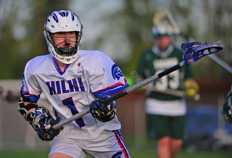 Lacrosse Deffender prêt pour l'action image stock
