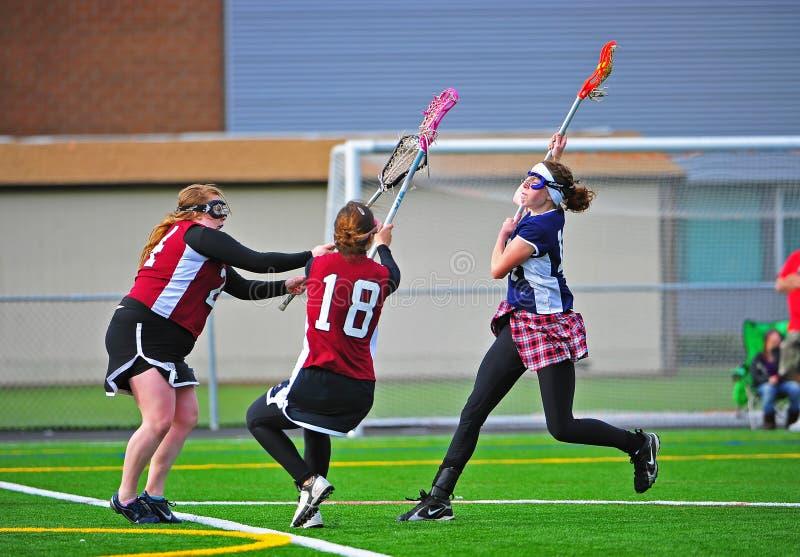 Lacrosse dziewczyn gry strzał obraz stock