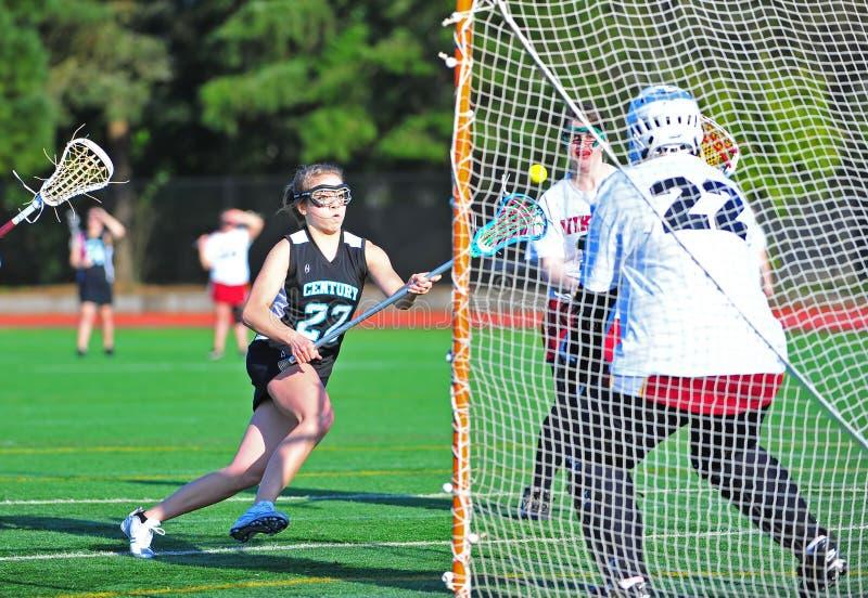 Lacrosse girls ball control royalty free stock photo