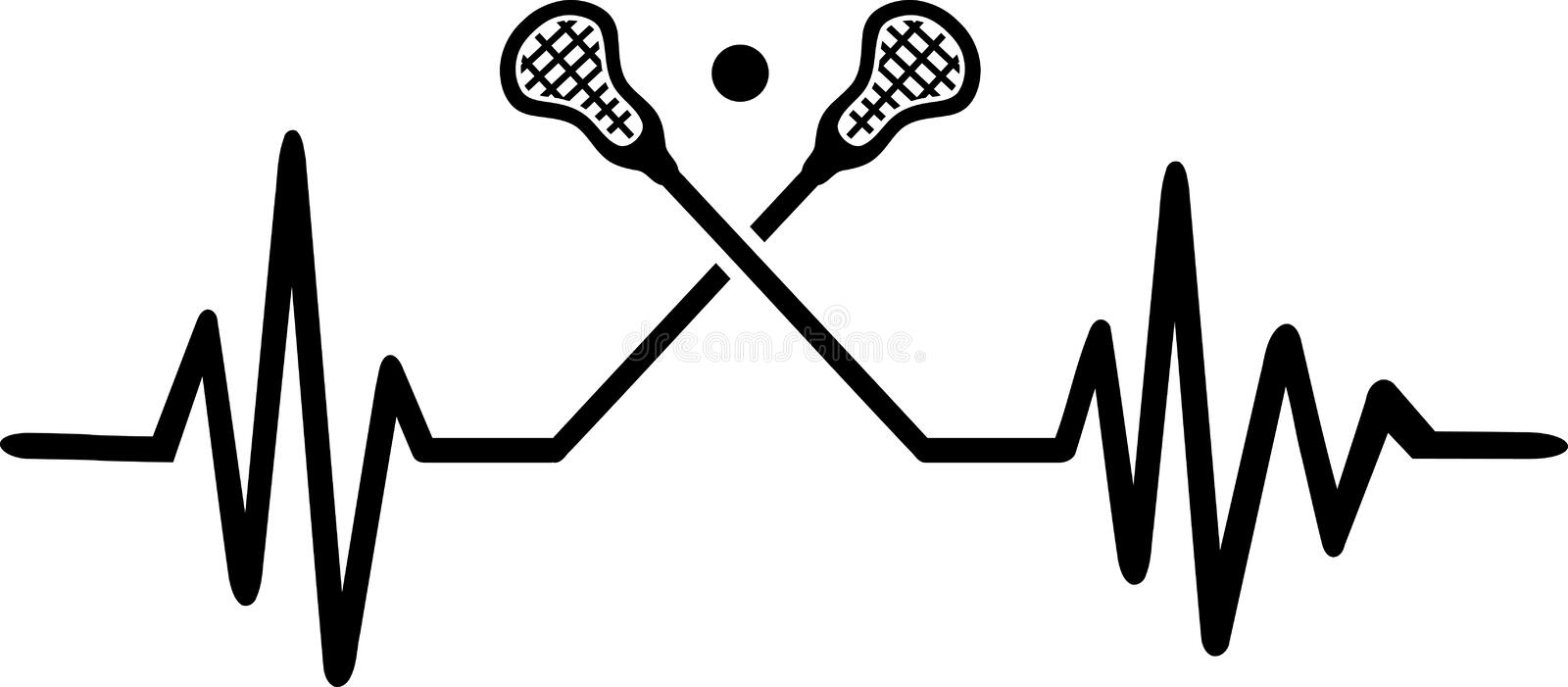 Lacrosse heartbeat line. Heartbeat pulse line with two crossed lacrosse sticks and a ball stock illustration