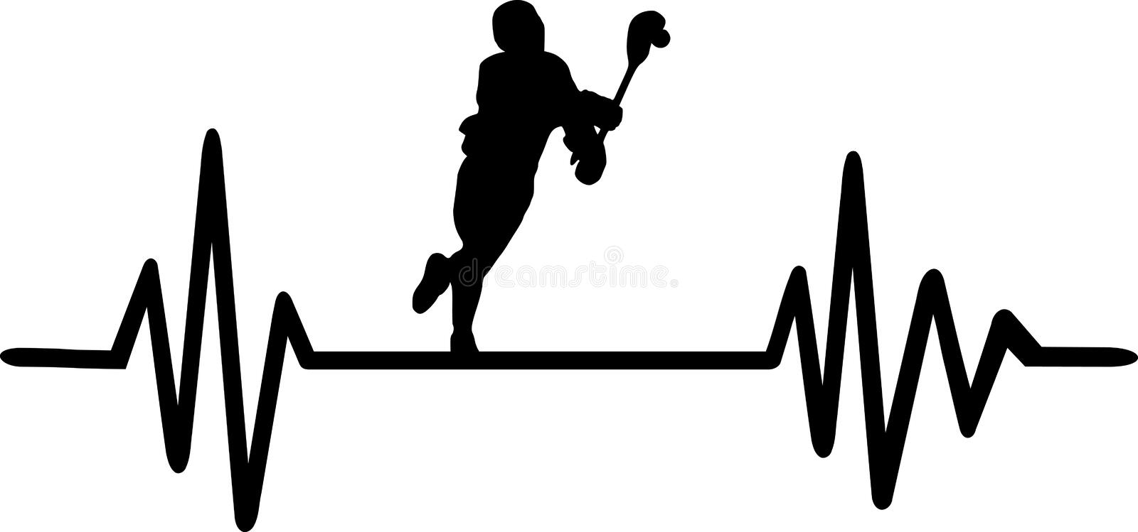 Lacrosse heartbeat pulse. Heartbeat pulse line with a running lacrosse player royalty free illustration