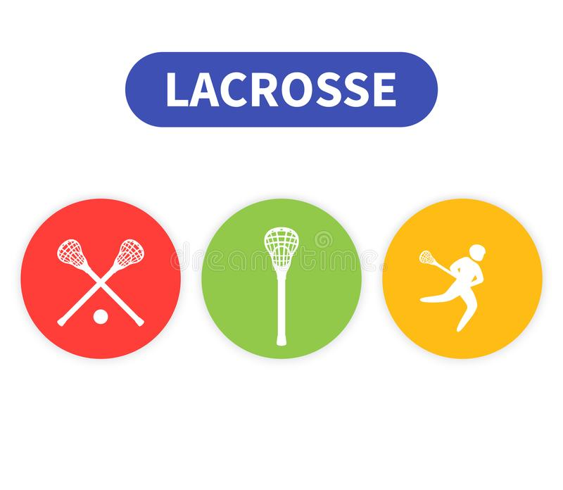 Lacrosse icons, player in game, sticks vector stock illustration
