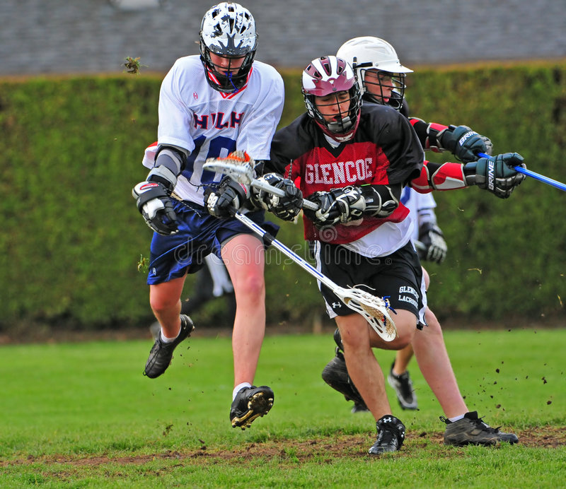 Lacrosse JV action royalty free stock photo