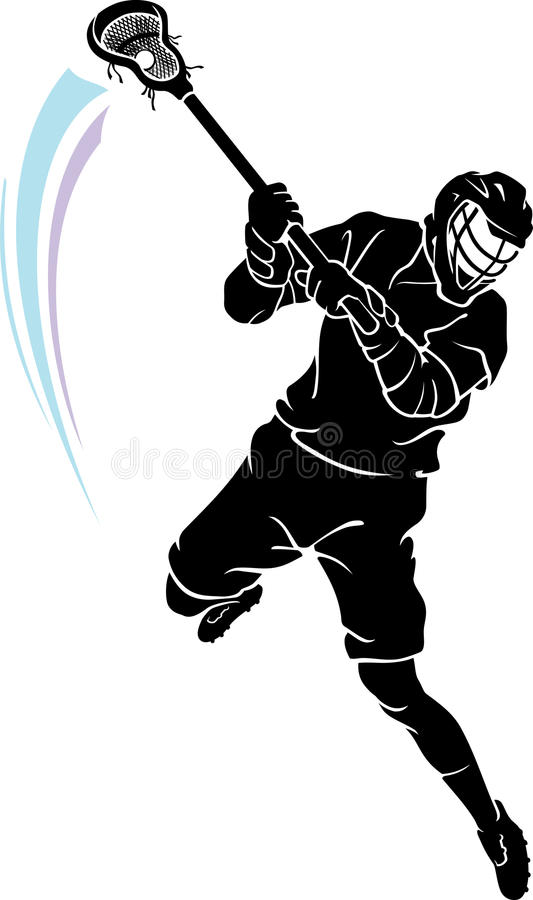 Lacrosse Leaping Player stock illustration