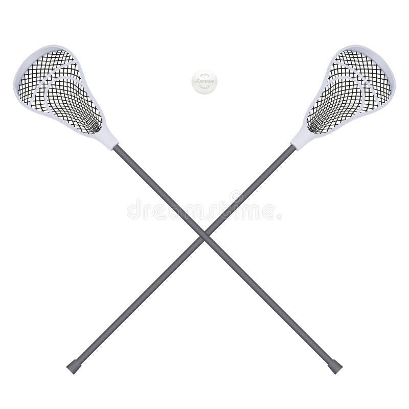 Lacrosse piłka i kije Wyposażenie Frontowy widok royalty ilustracja