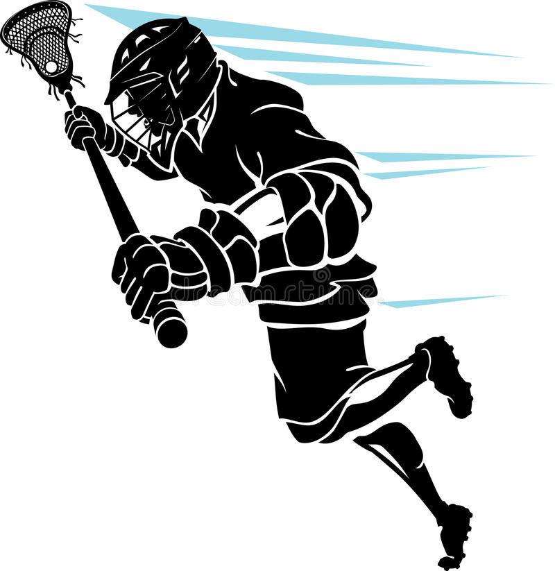 Lacrosse Player Charging royalty free illustration