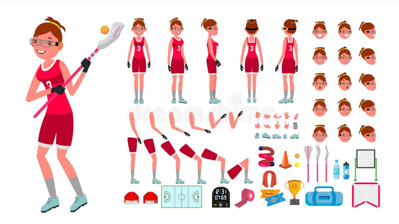 Lacrosse Player Female Vector. Animated Character Creation Set. Girl s Lacrosse. Woman Player. Full Length, Front, Side vector illustration