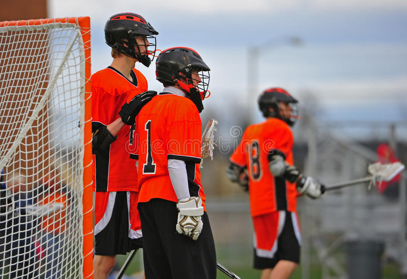 Lacrosse players support stock image