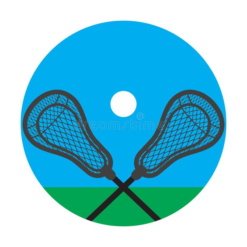 Lacrosse realistic net sticks and ball icon royalty free illustration