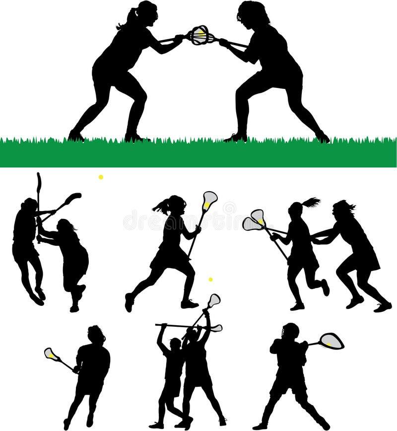 lacrosse s silhouettes kvinnor stock illustrationer