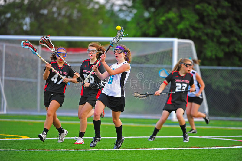 Lacrosse semi Fianls de fac de filles photo stock