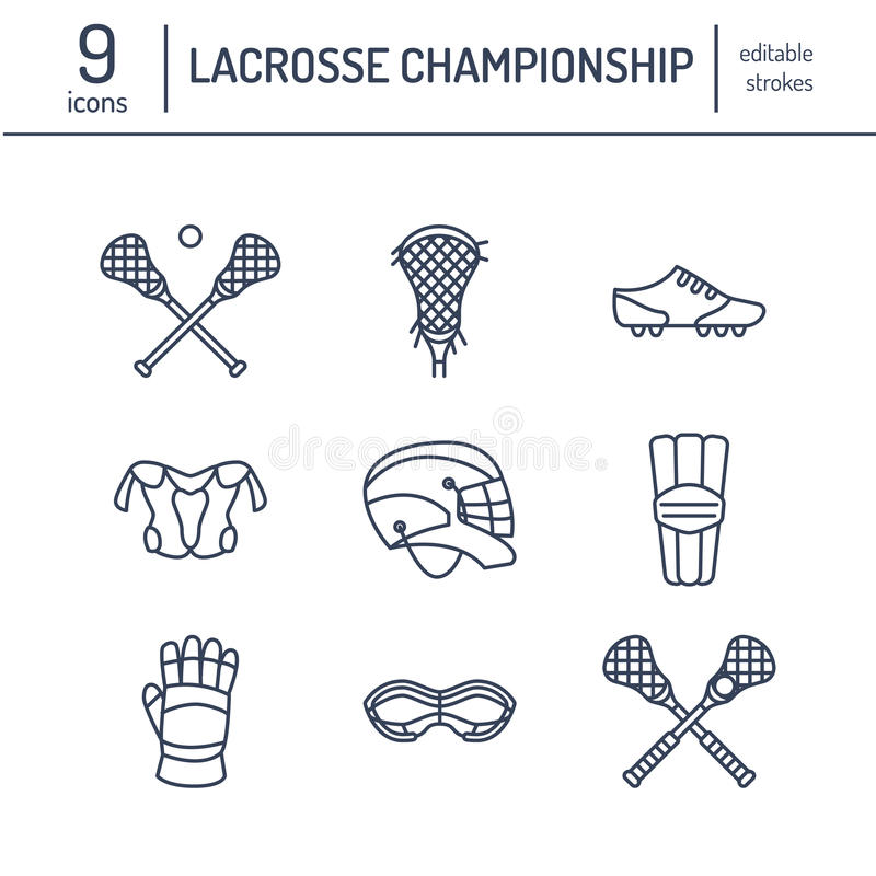Lacrosse sport game vector line icons. Ball, stick, helmet, gloves, girls goggles. Linear signs set, championship royalty free illustration