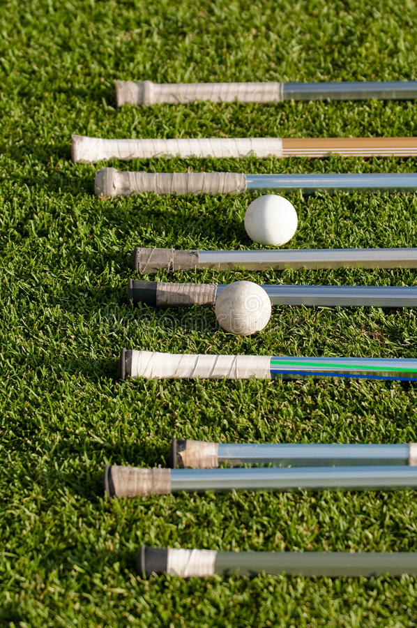 Lacrosse Stick Handles and Balls stock images