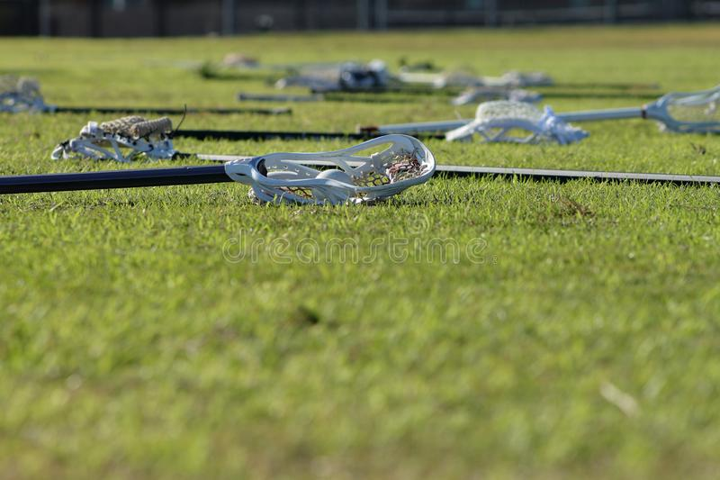 Lacrosse sticks on the field. Picture of lacrosse sticks on the field before the game stock image