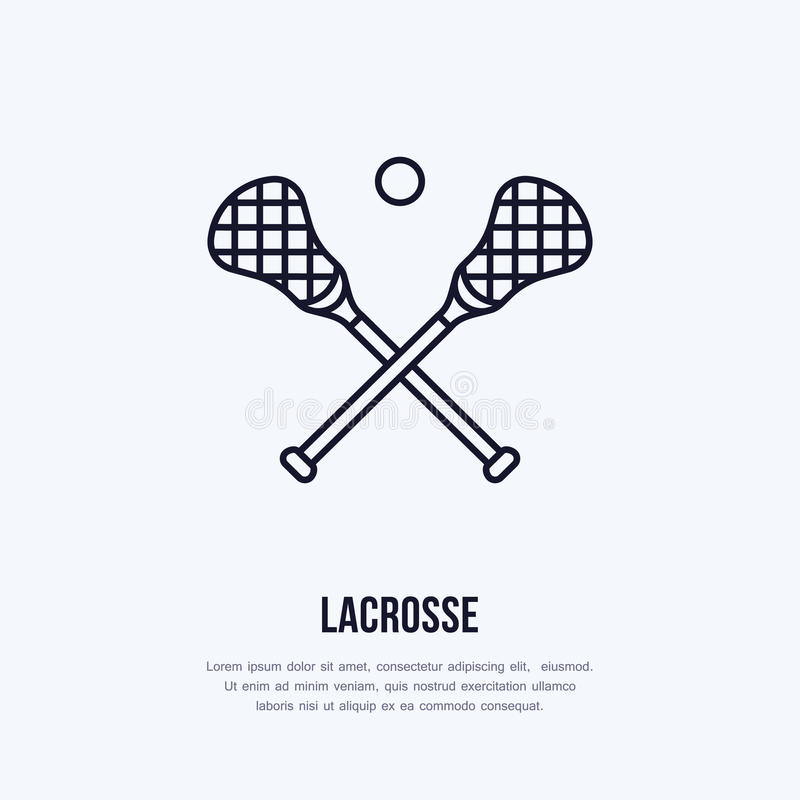 Lacrosse vector line icon. Ball and sticks logo, equipment sign. Sport competition illustration stock illustration