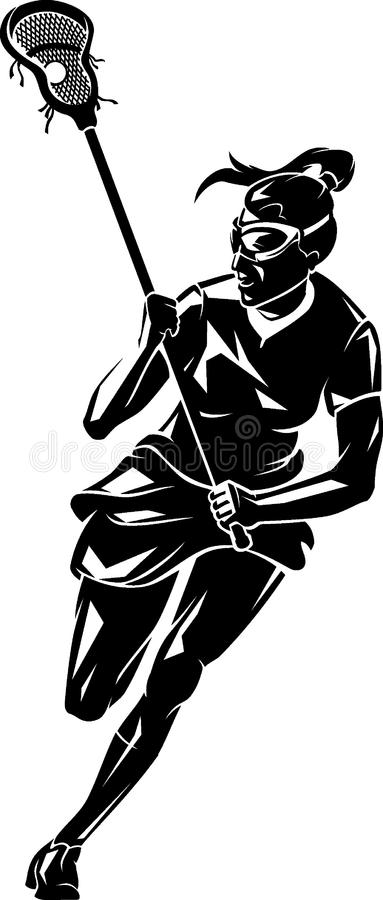 Lacrosse Woman Front Shadowed stock illustration