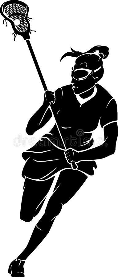Lacrossekvinna i Front View stock illustrationer