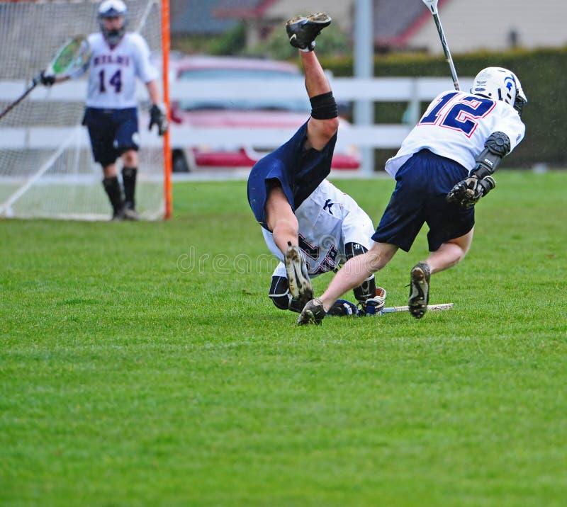 Lacrossespieler unten stockbild