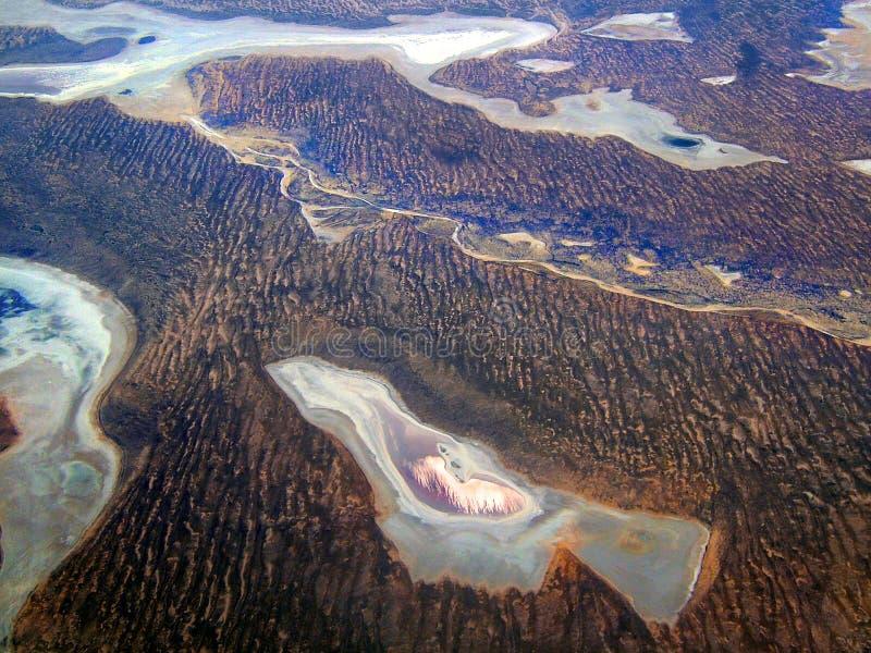 Lacs salt dans le désert image libre de droits