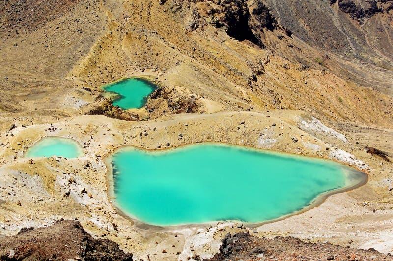 Lacs verts Tongariro, Nouvelle Zélande images stock
