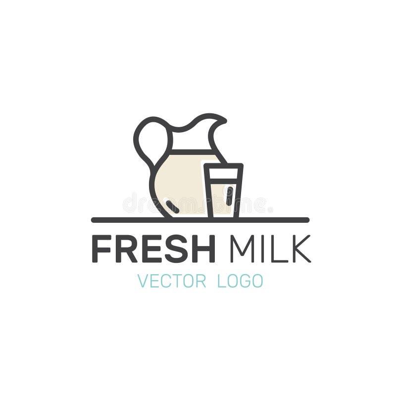 Lactose, diário, produtos de leite Exploração agrícola e símbolos orgânicos Bio mercado, loja do campo, logotipo moderno isolado ilustração do vetor