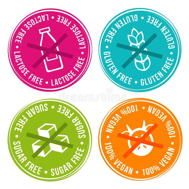 Organic Coffee Logo Collection: Vegan, Lactose Free, Gluten Free And Sugar Free Badges