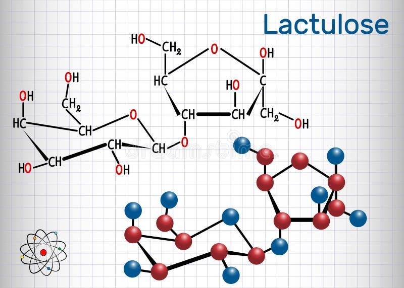 Lactulosemolekyl Det används i behandlingen av förstoppning royaltyfri illustrationer