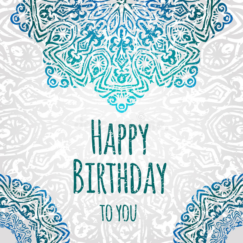 Download Lacy Ethnic Vector Happy Birthday Card Template. Romantic Vintage  Invitation. Abstract Grunge Circle