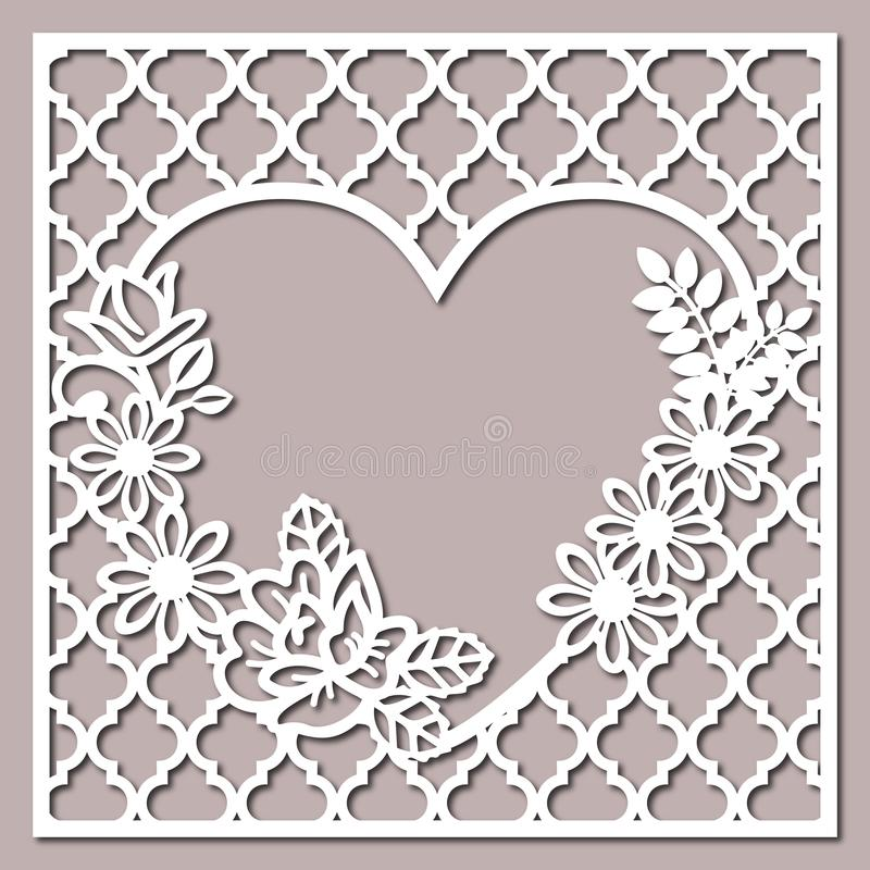 Lacy Heart With Carved Openwork modell stock illustrationer