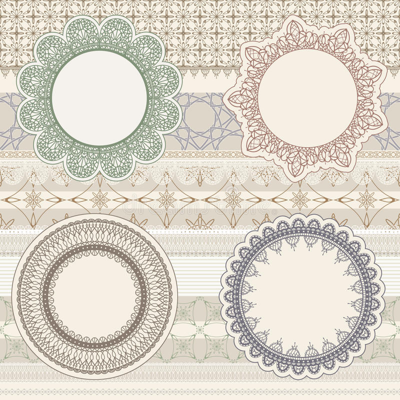 Download Lacy Napkins On Seamless Pattern Stock Vector - Illustration of embroider, flower: 24100047