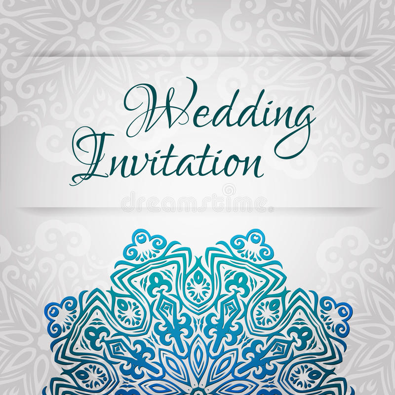 Lacy Vector Wedding Card Template. Romantic Vintage Wedding