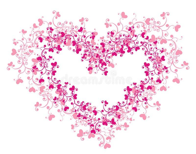 lacy vektor för hjärtaillustration stock illustrationer