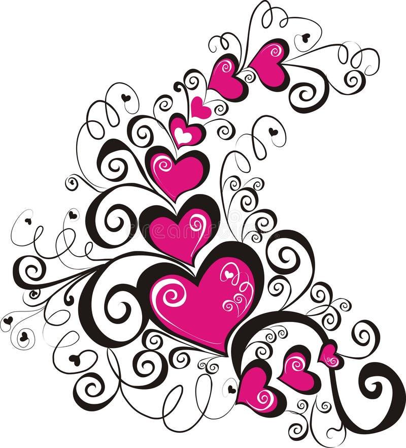 lacy vektor för hjärtaillustration royaltyfri illustrationer