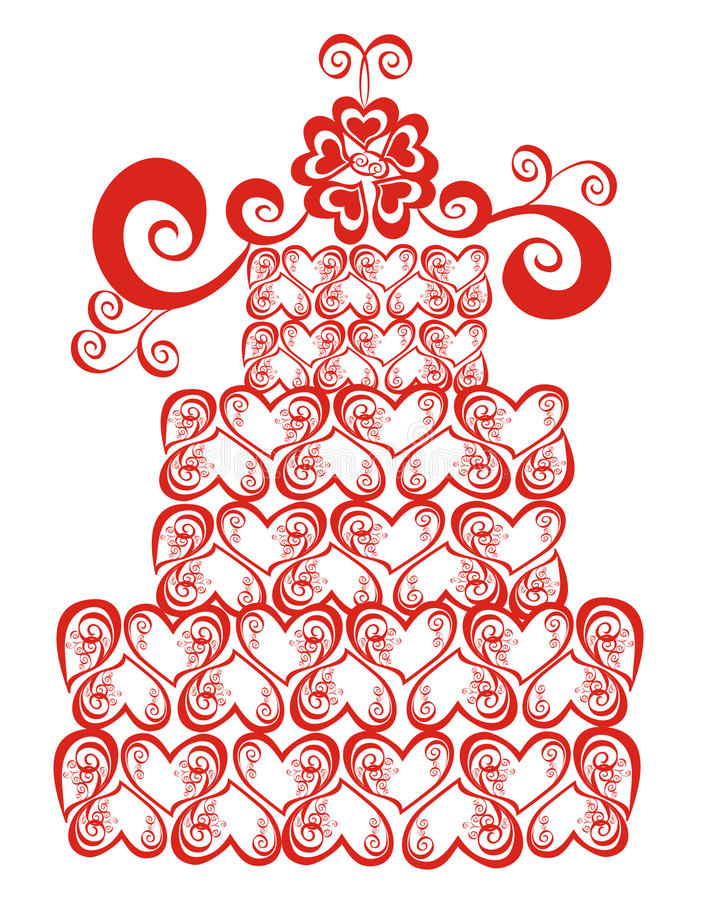 Download Lacy Wedding Cake. Vector Illustration Stock Vector - Illustration of invitation, card: 14138007