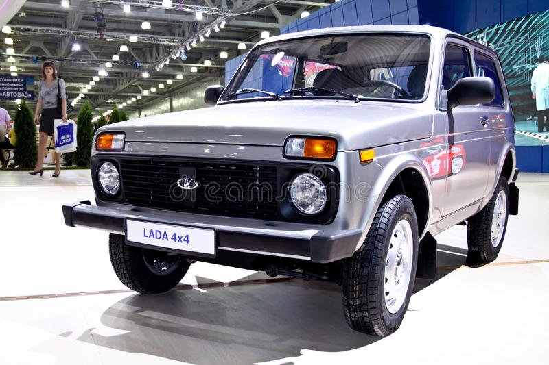 Lada 4x4 Niva. MOSCOW - AUGUST 25: Lada 4x4 Niva at the international exhibition of the auto and components industry, Interauto on August 25, 2011 in Moscow royalty free stock photography