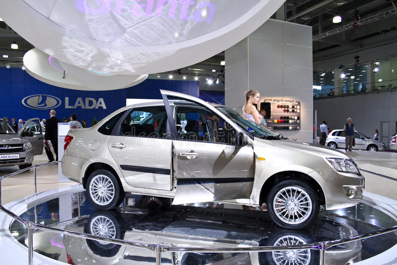 LADA Granta. MOSCOW - AUGUST 25: LADA Granta at the international exhibition of the auto and components industry, Interauto on August 25, 2011 in Moscow stock photos