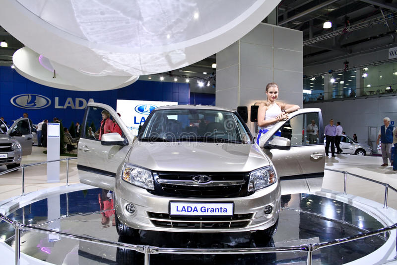 LADA Granta. MOSCOW - AUGUST 25: LADA Granta at the international exhibition of the auto and components industry, Interauto on August 25, 2011 in Moscow stock images