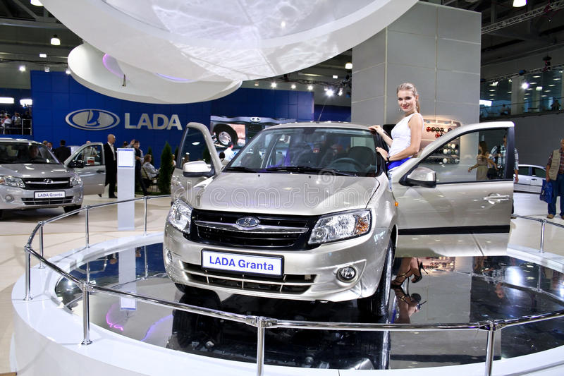 LADA Granta. MOSCOW - AUGUST 25: LADA Granta at the international exhibition of the auto and components industry, Interauto on August 25, 2011 in Moscow royalty free stock photos