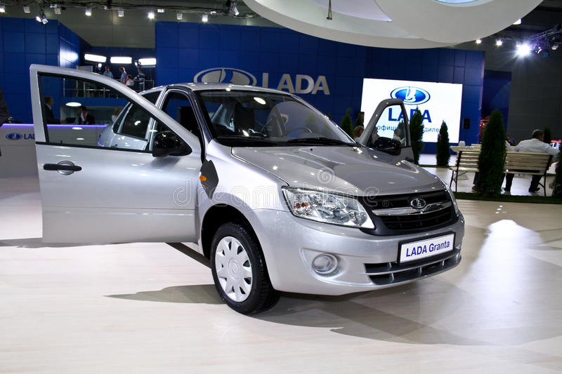 LADA Granta. MOSCOW - AUGUST 25: LADA Granta at the international exhibition of the auto and components industry, Interauto on August 25, 2011 in Moscow stock image