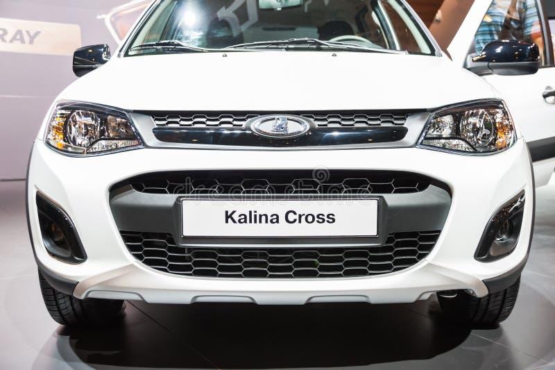 Lada Kalina十字架 片段 免版税库存照片