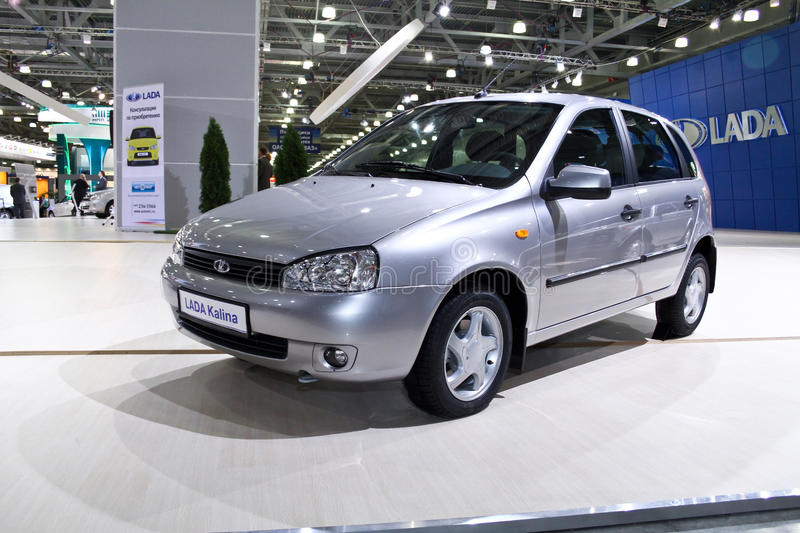 LADA Kalina sedan. MOSCOW - AUGUST 25: LADA Kalina sedan at the international exhibition of the auto and components industry, Interauto on August 25, 2011 in royalty free stock photos