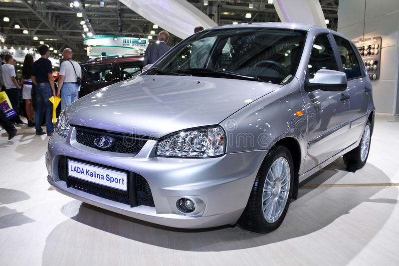 LADA Kalina Sport. MOSCOW - AUGUST 25: LADA Kalina Sport at the international exhibition of the auto and components industry, Interauto on August 25, 2011 in stock image