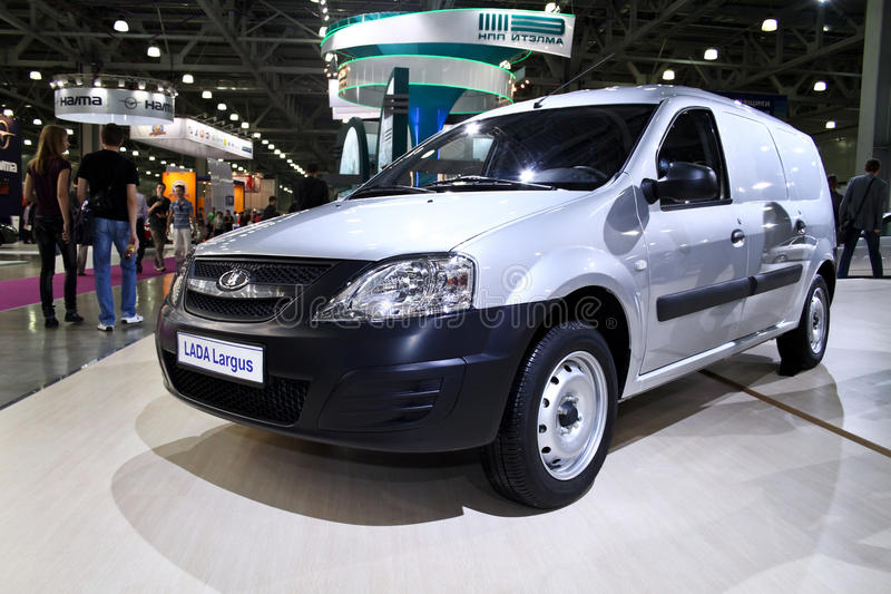 Lada Largus wagon. MOSCOW - AUGUST 25: Lada Largus wagon at the international exhibition of the auto and components industry, Interauto on August 25, 2011 in stock photos