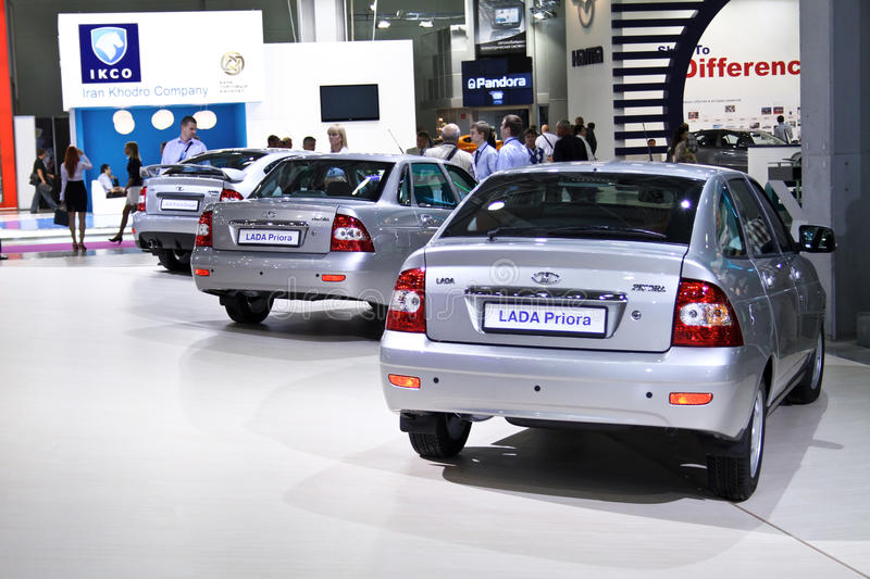 LADA Priora series cars. MOSCOW - AUGUST 25: LADA Priora series cars at the international exhibition of the auto and components industry, Interauto on August 25 royalty free stock photography