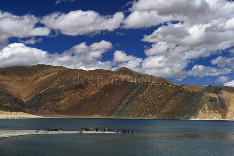 LADAKH, INDIA, July 2016, Tourist at Pangong view point royalty free stock images