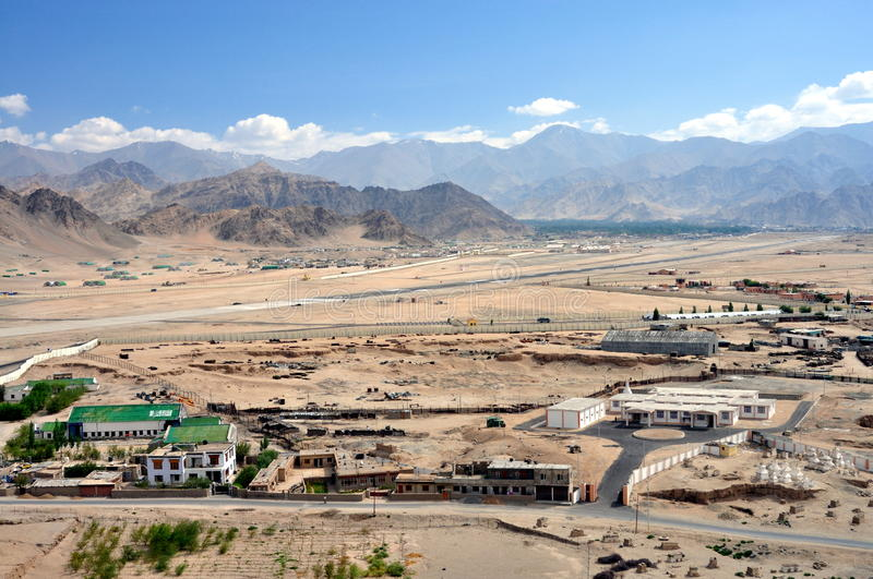 Ladakh, India - Leh landscape with the airport royalty free stock photography