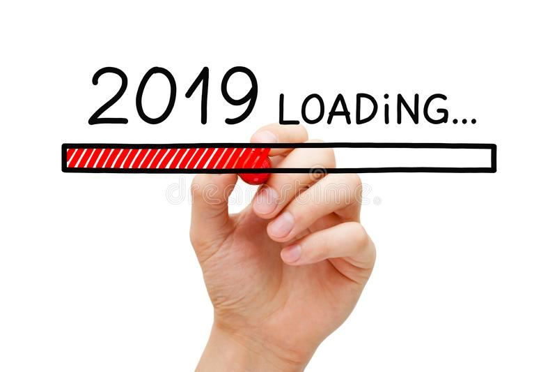 Ladda begrepp för nytt år 2019 arkivbilder